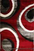 California Circle Design Shaggy Rug 181 Red White