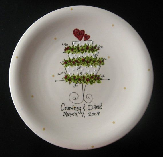 Hand Painted Ceramic Wedding Plate