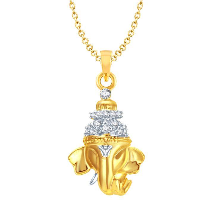 Fashion jewellery pendent GAJMUKH GOLD & RHODIUM PLATED CZ GOD PENDANT  GP105