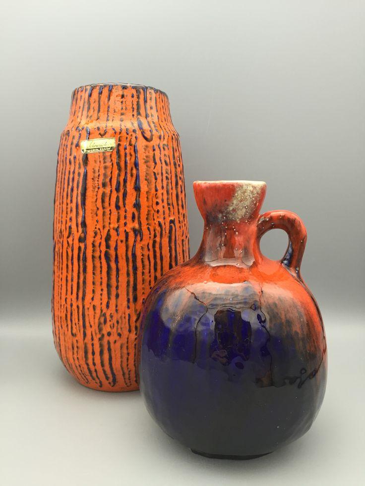 Scheurich orange/blue vase, Ruscha 333 orange blue vase. 1970s WGP Ceramics Fat Lava era. VintageCeramics4You by Etsy.