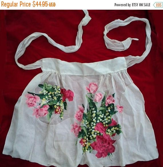 SALE Vintage Retro Maid HOSTESS Apron Sexy French Style Sheer
