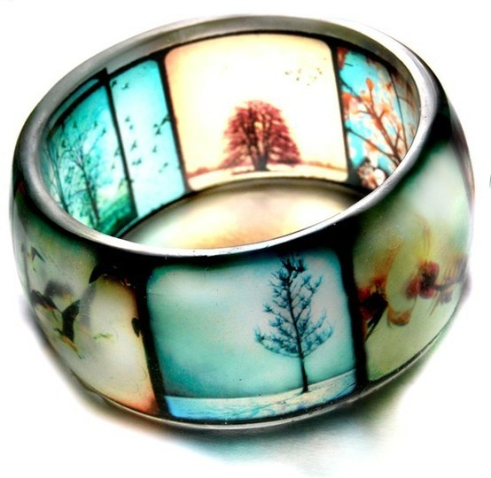 resin photo jewelry: Ideas, Style, Hands, Resins Photos, Resins Bangles, Cast Resins, Rings, Bangles Bracelets, Photos Jewelry