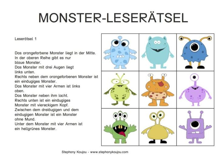 monster leser tsel deutsch deutsch lesen deutsch unterricht und deutsch lernen. Black Bedroom Furniture Sets. Home Design Ideas