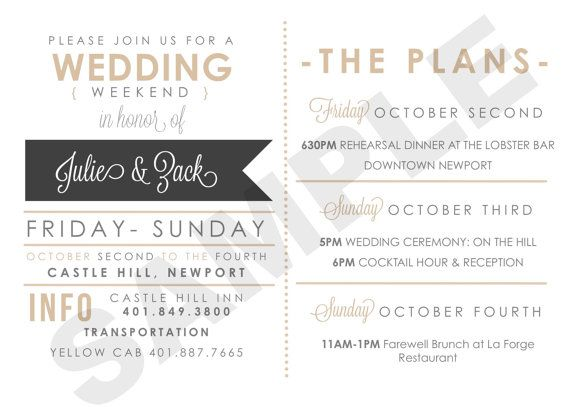 Wedding Weekend Itinerary Card For The Bridal Party Guests Vendors Etc Timeline