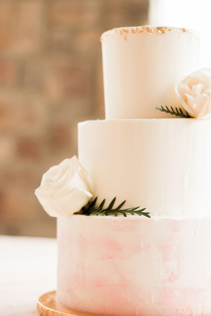 Pink Watercolor Wedding Cake
