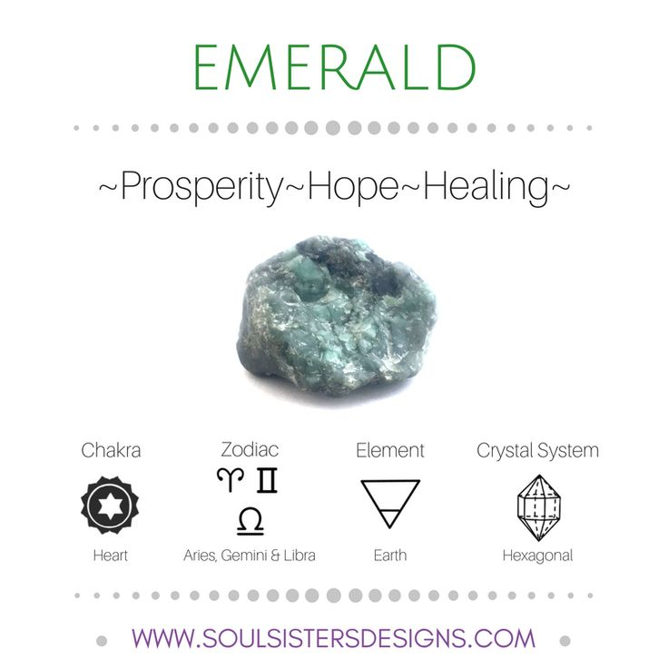Metaphysical Healing Properties of Emerald, including associated Chakra, Zodiac and Element, along with Crystal System/Lattice to assist you in setting up a Crystal Grid. Go to https://www.soulsistersdesigns.com/emerald to learn more!