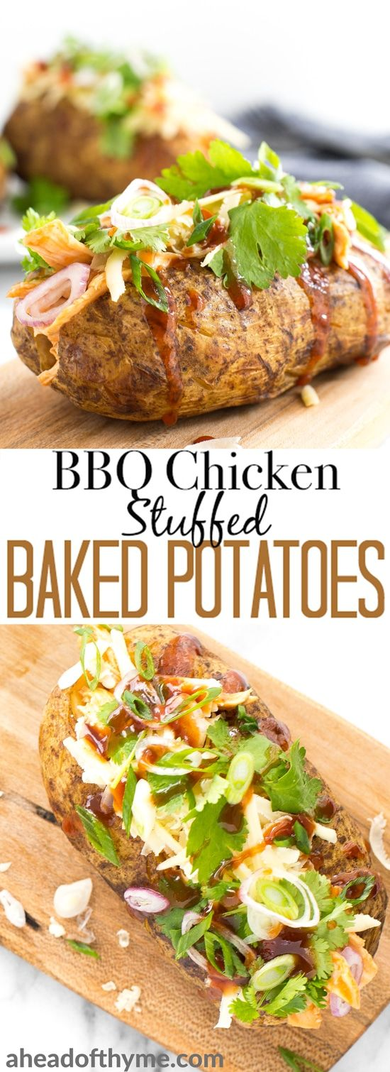 Try this gorgeous combination of BBQ chicken, scallions, cilantro and gruyere for an explosion of flavour in loaded BBQ chicken stuffed baked potatoes! | aheadofthyme.com #potatoes #BBQ #chicken #bakedpotato #lunch via @aheadofthyme