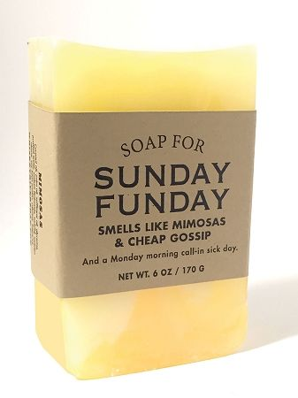 $9.95 - Soap for Sunday Funday 170g / 6oz - Smells Like Mimosas & Cheap Gossip. And a Monday morning call-in sick day.