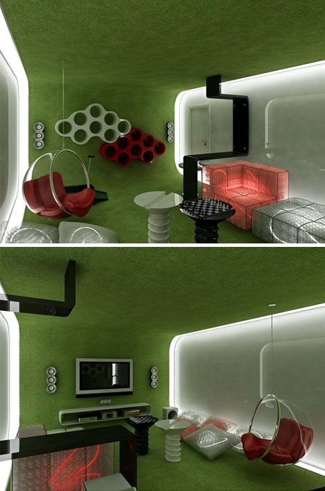 Interior Design Space Between Furniture ~ Space age rooms explore home interior design extremes