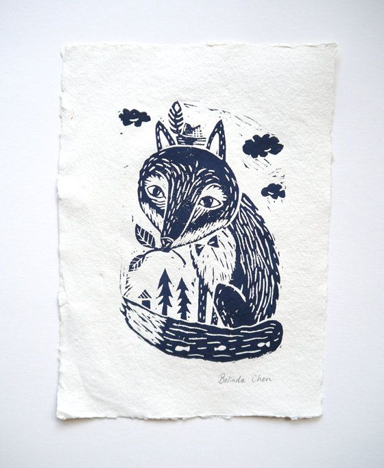 BelsArt: Fox in woodland- Original Linocut print