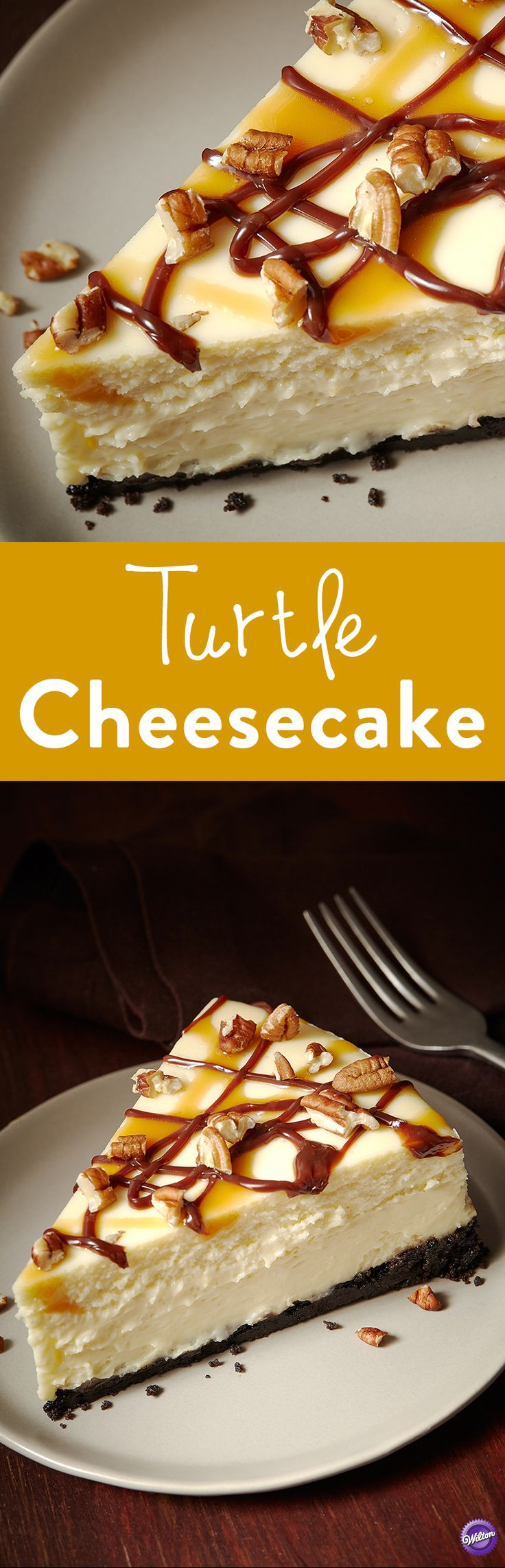 Turtle Cheesecake Recipe - Caramel, fudge and pecans mean one thing: it's turtle time! This classic turtle cheesecake is finished off with a drizzle of hot fudge and caramel sauce and sprinkled with pecans. A decadent dessert to serve after a good meal.