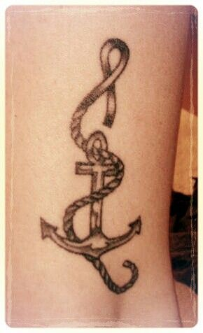 Anchor tattoo I drew when I was 17. Cancer ribbon for Bob <3