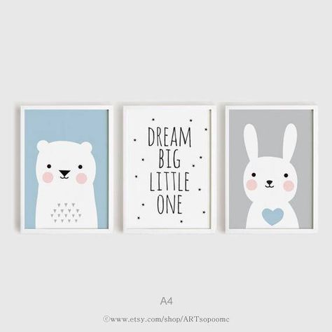 Druckbare Kinderzimmer Kunst 3er-Set Kinderzimmer Poster Dream Big Little ein Bär und Hase Print Baby blau und grau Wandkunst Digitaldrucke
