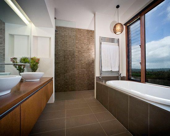 Коричневая ванная комната, фото дизайна интерьера