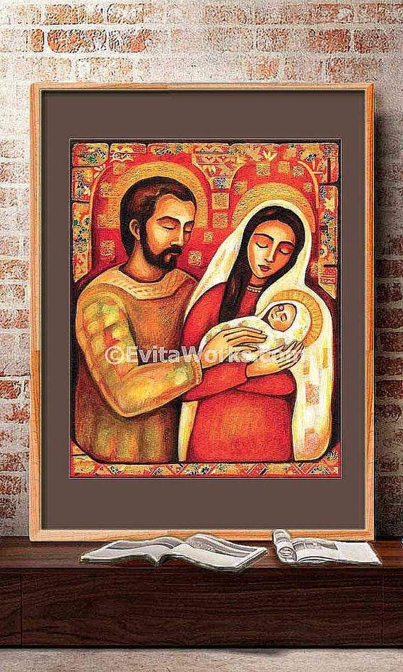 Sagrada Familia Virgen María Jesús madre hijo pintura