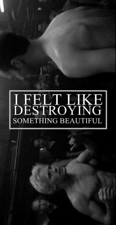 """I felt like destroying something beautiful."" -Fight Club (1999) https://motionpictureaficionado.wordpress.com/about/"