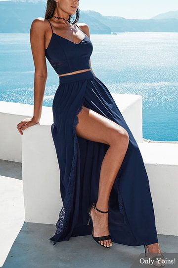 Opening Split with Lace Trim Maxi Skirts in Navy - US$23.95 -YOINS
