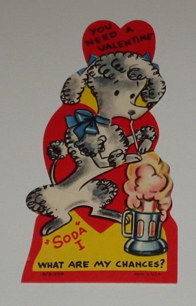 "VINTAGE 1956 Valentine greeting card,poodle dog with ice cream soda, 4 3/4"" used - $0.99. *Vintage used Valentine card.Cute image of a dog drinking an ice cream soda,image on front only, dated 1956,4 3/4"" x 2"", has writing,no envelope, made in USA. *Some wear, has writing,wear on back from scrapbook,light crease above her head,Image can still be used. **Shipping on vintage greeting cards...$3.00 for the first card and FREE shipping on the rest of the cards you purchas..."