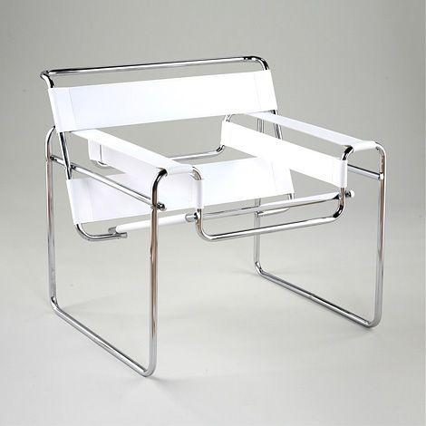 white leather wassily chair