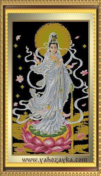 Индийская богиня схема вышивки. Вышивка Богиня на лотосе