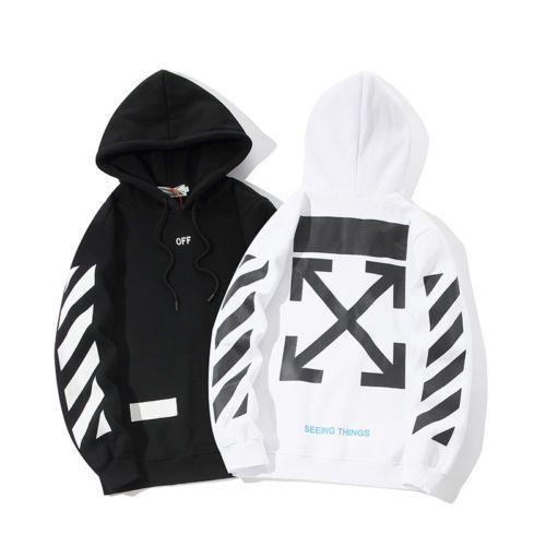 2d48319cc10e Supreme Hoodie Logo Off-White Virgil Abloh Arrow Pullover Casual Men  Sweatshirt  ManufacturerDirect  Hoodie