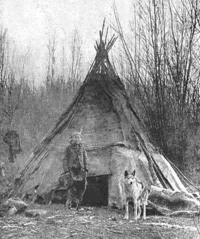 Joven nativo americano con su perro. La fotografía está hecha en la segunda mitad del siglo XIX.