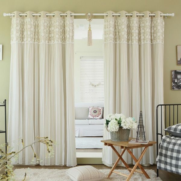 Aurora Home Floral Lace Overlay Thermal Insulated Blackout Grommet Top Curtain Panel Pair - 17231186 - Overstock.com Shopping - Great Deals on Aurora Home Curtains