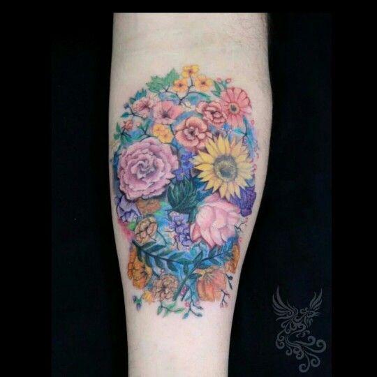#flowers #skull #skulltattoo #tattoo #ink #colorful #tattooed #soultattoo