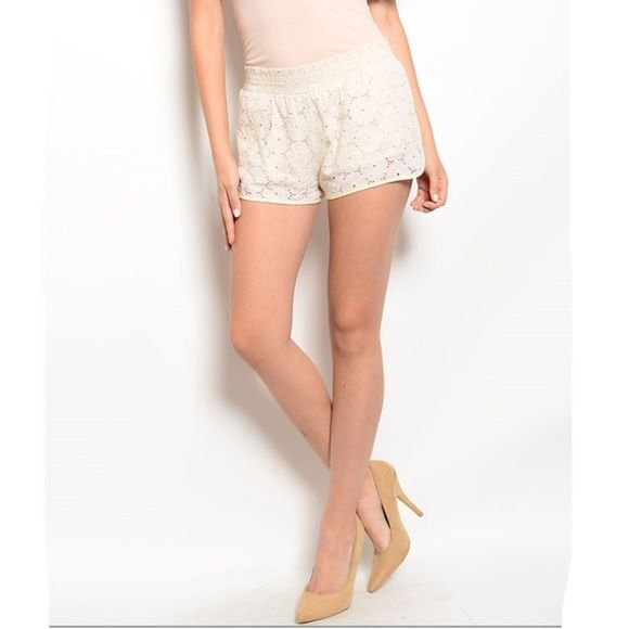 BOGO 50% Beige Shorts These crochet shorts feature full lining and elastic waistband. 100% cotton lining. 95% cotton, 5% spandex. Do not buy this listing. When you're ready to buy, I'll make you a new listing. I consider offers and all bundles are 15% off  Shorts