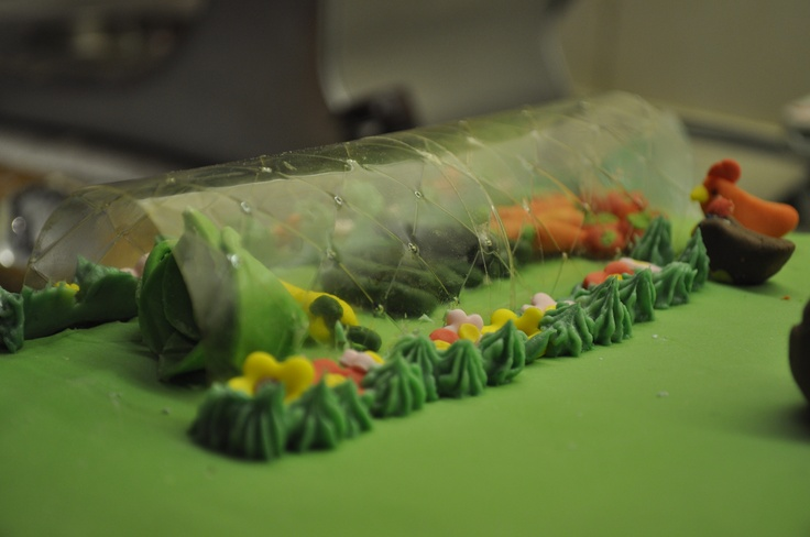 Great Idea i discovered for making a polly tunnel/green house for a cake using gelatine leaves :D