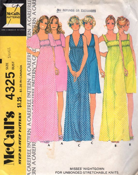 McCalls  4325 1970s Misses Nightgown Pattern Empire Waist womens vintage sewing patternby mbchills