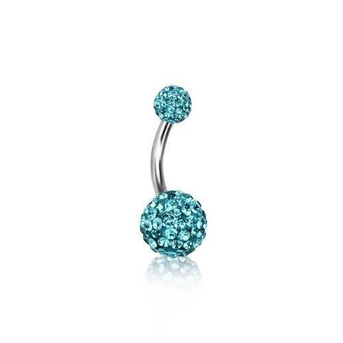 Bling Jewelry Aquamarine Color Crystal Shamballa Inspired Belly Ring 316L Steel