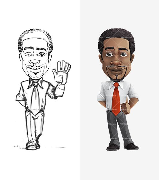 Afro American Businessman Cartoon Character Draft: http://tooncharacters.com/male-cartoon-characters/afro-american-businessman-cartoon-character/