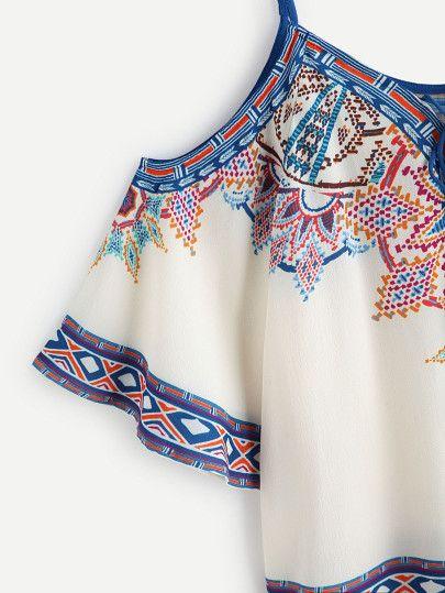 Aztec Print Cold Shoulder Lace Up Top