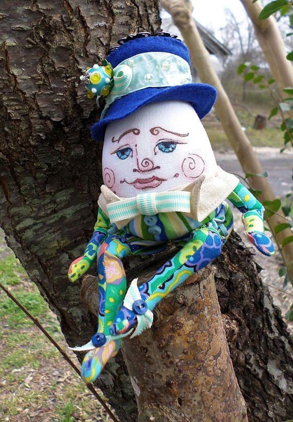 OOAK Cloth Art Doll Humpty Dumpty Spring Children's Story