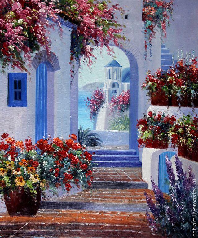 Купить Прогулки по Греции - картина маслом ручной работы на холсте - синий…