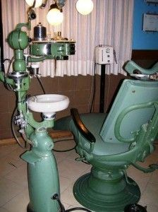 My childhood nightmare - the dentist. Equipment looks so primitive now--like a torture chamber.