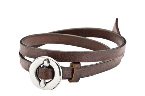 Leather bracelet with Oxidiced Sterling Silver buckle