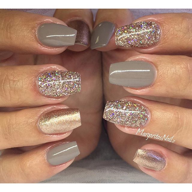 Earl grey & champagne✨✨ #glitter #nailart                                                                                                                                                                                 More