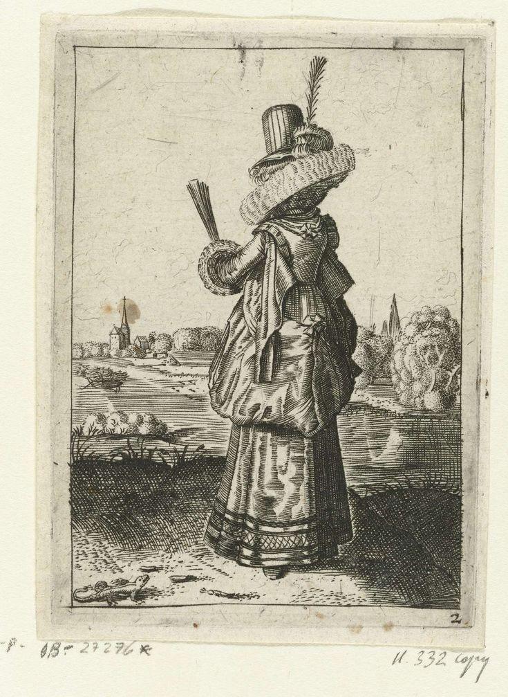 Anonymous | Elegante dame bij hagedis, Anonymous, Dirck Hals, Claes Jansz. Visscher (II), 1619 - 1652 | Dame, staand in landschap, schuin op de rug gezien, naar links, gekleed volgens de mode van ca. 1620. Ze draagt een japon met schouderkleppen en een grote lubbenkraag op een portefraes. De rok is opgeslagen. De mouwen zijn afgezet met opzij uitstaande manchetten. Op haar hoofd een hoed met hoge bol en veer; een dichte, half cirkelvormige waaier in de hand. Rivier en dorpsgezicht op de…