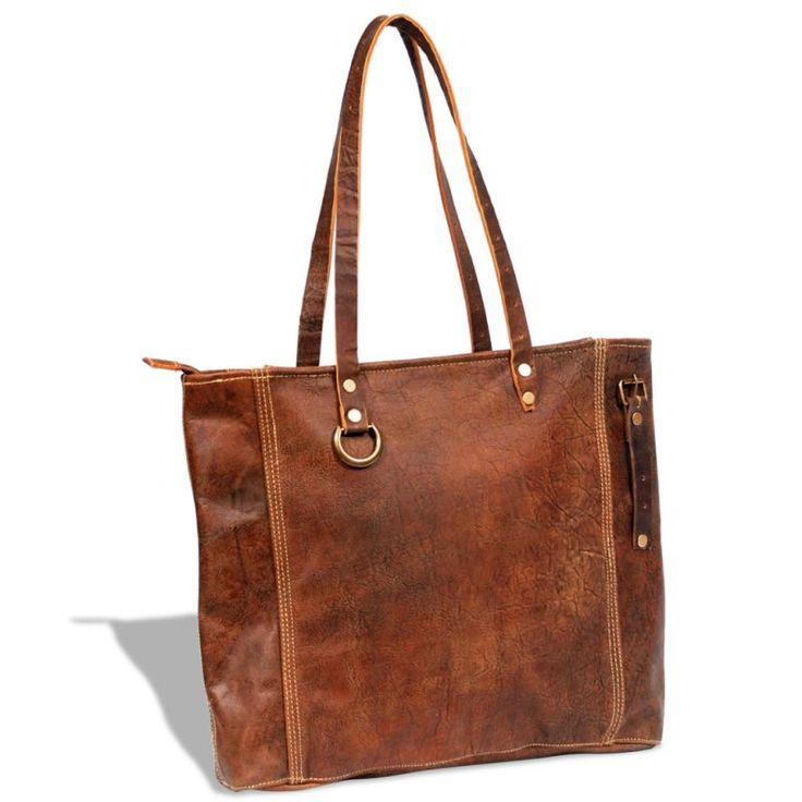 Genuine Goat Leather Handbag Shopping Tote in Brown | Buy Bags