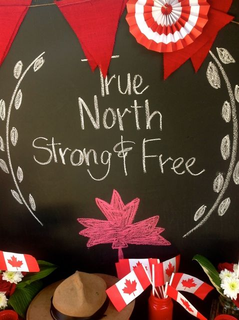 Chalkboard sign at a Canada Day party! See more party ideas at CatchMyParty.com!