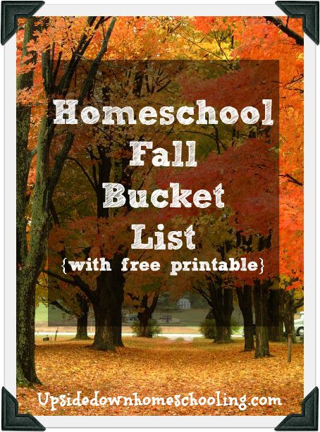 Homeschool Fall Bucket List {Free Printable} from Upside Down Homeschooling