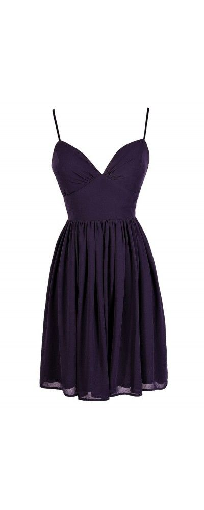 True To You Sweetheart Neckline A-Line Chiffon Dress in Dark Purple  www.lilyboutique.com