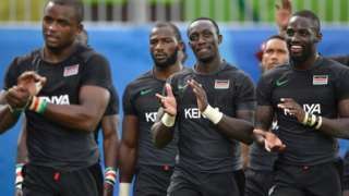 On the same day Kenya's rugby sevens players applaud their fans after their match against Japan during the Rio 2016 Olympic Games at Deodoro Stadium in Rio de Janeiro.