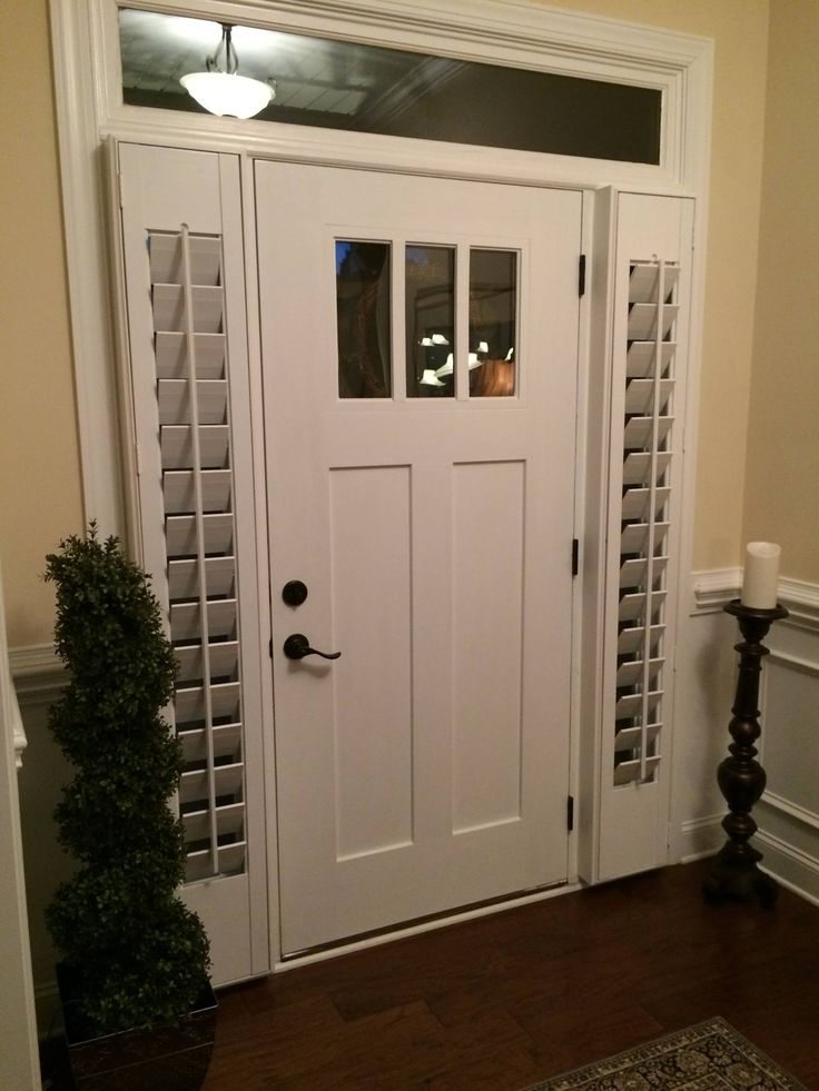 Need a little privacy for your front door sidelight windows?  We can help!  Plantation shutter are perfect to give you the privacy that you want when you need it. #nosyneighbor #sidelightshutters #homeimprovement #shutters