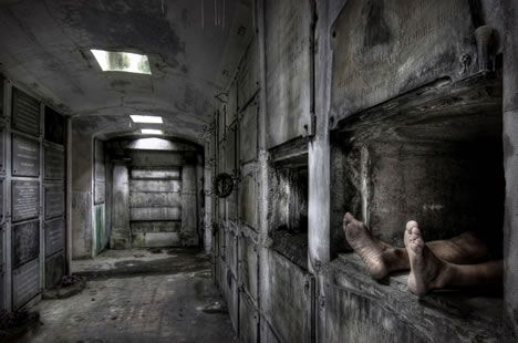 """:::Shudders just reading this:::  Just in case you don't find it creepy enough exploring abandoned crypts, this forgotten crypt in Belgium has a ghoulish """"new guest."""""""