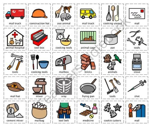 Community helper cut sort set 2 chef construction worker for Construction vocabulary