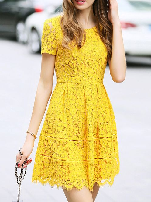 Yellow Crew Neck A-Line Lace Dress -SheIn(abaday)