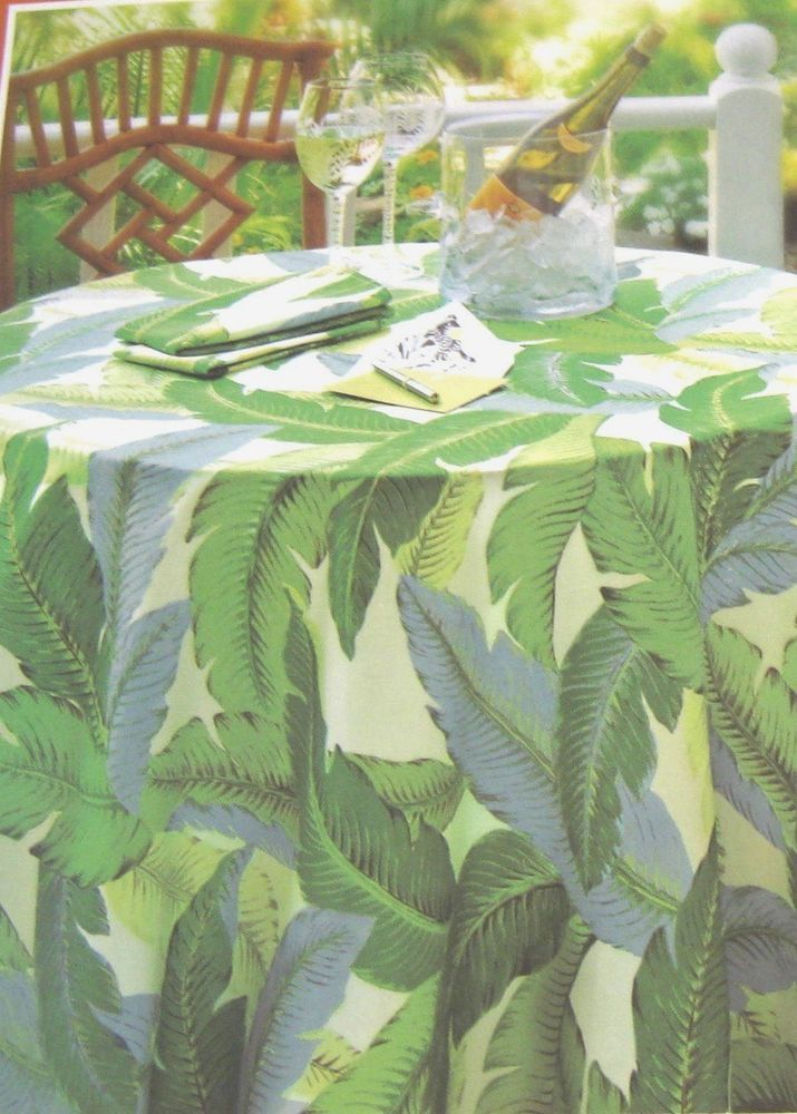 """Tommy Bahama Banana Leaf Leaves 60"""" x 102"""" Oblong Tablecloth Water Repellent #TommyBahama"""